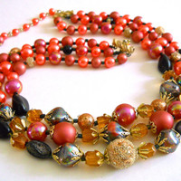 Multi Strand Iridescent Necklace, Crystal, Faux Pearls, Peach Pink Gold, Vintage