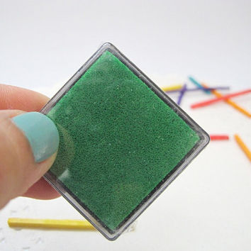 Green Ink pad , Dark christmas grren kids mini ink pad for rubber stamps, scarpbooking, card making, gift tags making