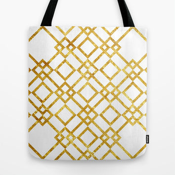 Golden Screen Tote Bag by Miss L In Art