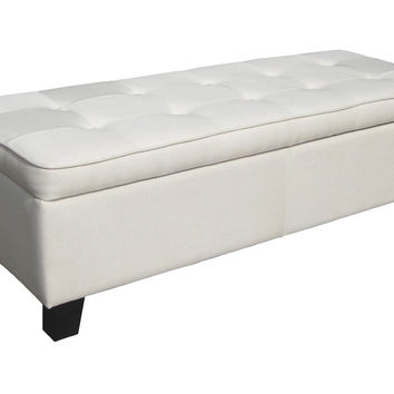 Cream Beige Linen Tufted Top Storage Bench Ottoman