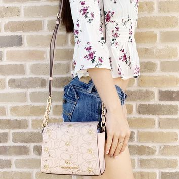 Michael Kors Sofia Small Crossbody Ballet Pink Perforated Floral Studded
