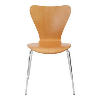Tendy Stacking Chair in Natural with Chrome Legs (Set of 4)
