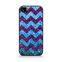 Blue Chevron iPone 6 PLUS Case - Sparkle - Vintage - Patterned - Retro Hard Plastic, Protective Black Case, Dust and Scratch Proof for Iphone 6 PLUS