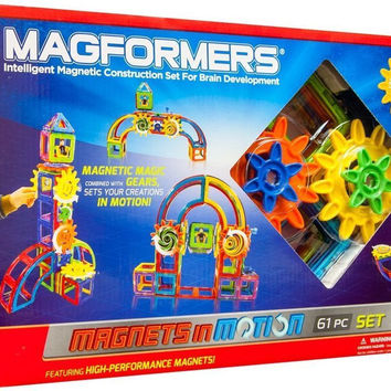 Magformers Magnets in Motion 61 Pc Magnetic Gear Construction Set