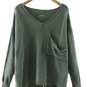 Loose Pocket Green Pullover