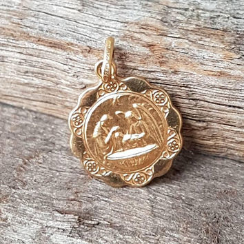 Vintage Gold Religions Pendant , 9ct Real Solid Yellow Gold , Ricordo Del Battesimo , Record Of Baptism , Unisex Pendant , Unoaerre Italy