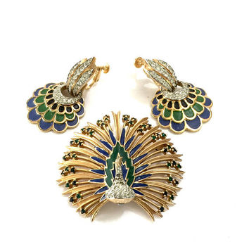 Jomaz Jeweled Peacock Demi, Brooch & Earring Set, Layered Peacock Brooch, Green Blue Enamel, Pave Ice Crystals, Vintage Designer Signed Set
