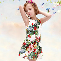 Highend Luxury Fashion Women Floral Printed Floral Printed Princess One Piece Dress Kids Boys Girls Baby Clothing Toddler Bodysuits Products For Children _ 4724