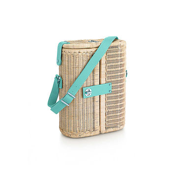Tiffany & Co. - Central Park wine carrier in wicker with Tiffany Blue® leather trim.