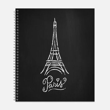 Eiffel Tower Notebook, Waterproof Cover, Paris Themed Notebook or Journal, Office Supplies, School Supplies, College Ruled