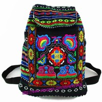 Tribal Vintage Hmong Thai Indian Ethnic Embroidery Bohemian Boho rucksack Boho hippie ethnic bag backpack bag L size SYS-170
