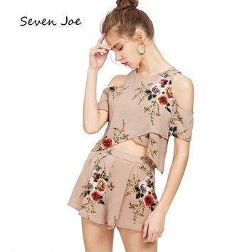DKLW8 Seven Joe Set shorts short sleeve Beach casual sports printed strapless chiffon shirt two sets of female summer Holiday dress