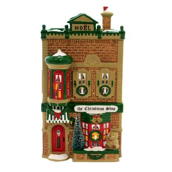 Department 56 House THE CHRISTMAS SHOP Ceramic Snow Village Noel Retired 5097-0