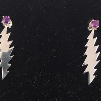 Grateful Dead, Sterling Silver 13 Point Lightning Bolt Earrings with Amethysts