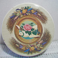 Vintage Valley Brook Farms Tin Rose Dove Floral Swag Container Home Decor