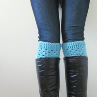Crochet Boot Cuffs Luxe Cuffs Socks Boot Toppers in Tiffany Blue