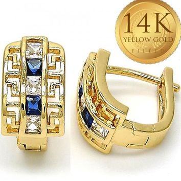 Gold Layered Women Greek Key Huggie Hoop, with Sapphire Blue Cubic Zirconia, by Folks Jewelry