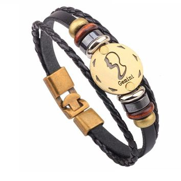 Vintage Retro Charm Horoscope Leather Bracelet