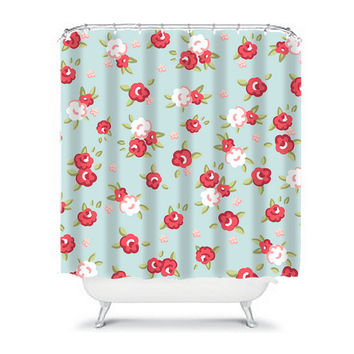 ROSE Flower Shower Curtain Aqua Blue Red Girly Preppy Floral Pattern Girl Bathroom Bath Polyester Made in the USA