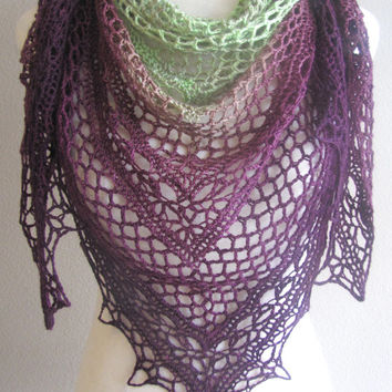 Wine Lovers! Gradient Lime Green To Deep Purple Plum Crochet Shawl Hand Dyed Superwash Merino Wool Handmade Lightweight Triangle Wrap Scarf