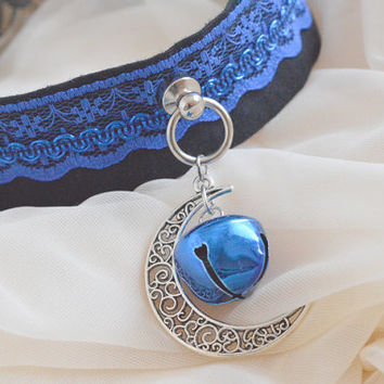 Moon song - midnight dark blue and black - elegant kawaii cute lolita kitten pet play collar with pendant and bell