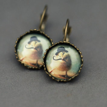 Earrings Antique Bronze Chick Wearing A Black Bowler Hat  and Mustache Leverback Earrings