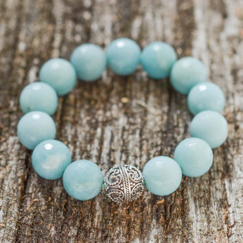 Amazonite & Sterling Silver Statement Bracelet Faceted Blue Beadwork Bracelet Boho Bracelet Genuine Gemstone Bracelet Beach Jewelry