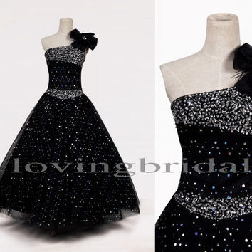 Long Black Sequined One Shoulder Handmade Flower Evening Dresses Prom Dresses Party Dresses 1950s Vintage