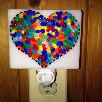Handmade fused glass multicolored heart nightlight nightlight made with small glass pieces
