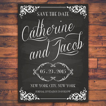 Personalized Chalkboard Save The Date Wedding Invitation Card Retro Handwritten Script Typography DIY Digital Print Printable Invite Card
