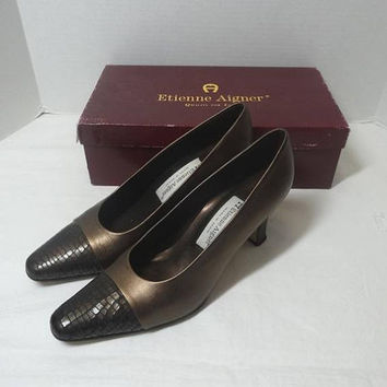 1990s Vintage Etienne Aigner Bronze FAB Shoes, Box, Made in Spain, Size 7.5 Narrow, 3 In. Heels, Leather Uppers, Vintage Shoes, Clothing