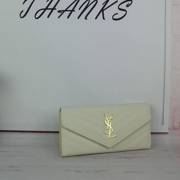 """Yves Saint Laurent YSL"" Women Simple Fashion Stripe Pattern Long Section Double Layer Purse Button Flip Wallet Handbag"