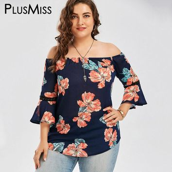 Plus Size 5XL Floral Print Chiffon Off The Shoulder Blouse Shirt Summer 2017 Blusas Flare Sleeve Casual Hawaiian Beach Top