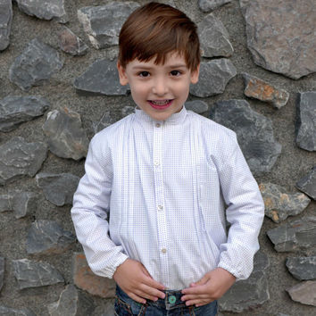 Boy shirt PDF Pattern mod. Gabriel SHORT or LONG sleeves,mao collar shirt,tucked shirt 6 9 12 18 months- 2 3 4 5 6 7 years ,Instant Download