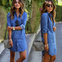 HOT BLUE SHIRT DRESS