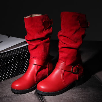 Suede Round Toe Metal Buckle Low Heel Slouch boots