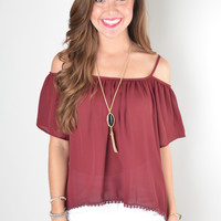 Maroon Off The Shoulder Top