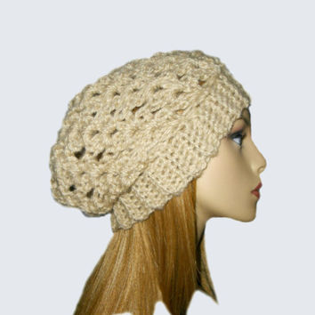 Slouchy Hat Slouchy Beanie Crochet Camel Light Tan Spring Beany Fashion