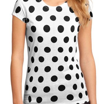 Black Polka Dots on White Juniors Petite Sub Tee Single Side All Over Print by TooLoud