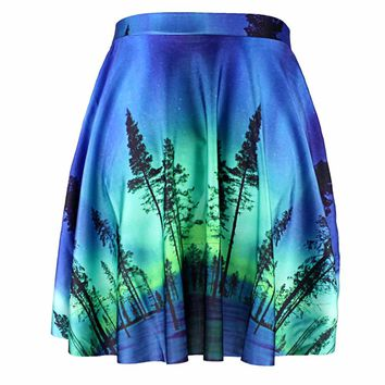 Blue 3D Map Print Blue Sexy Mini Skirt S To 4xl