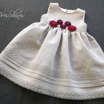 Eco-friendly baby girls party dress 12 up 18 month Gray linen lace Burgundy red crochet flowers Sleeveless Empire waistline