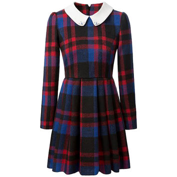 Plaid Collared Long Sleeve Midi Dress