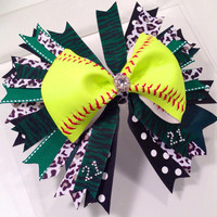 "Custom Softball Bow with double layer 7"" Spike ribbons"