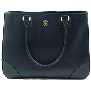 Tory Burch Robinson East-West Leather Hudson Bay (Navy Blue) Tote Bag