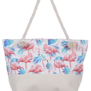 Flamingo Canvas Soft Rope Beach Bag