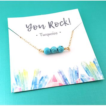 You Rock! Gemstone Bar Necklace - Gemstone Collection - Raw Gemstone Necklace