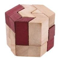 Double Color Hexahedron Prism Wooden Puzzle Toy Brain Teaser Tangram Puzzle Toy For Kids Intellectual Development Toy