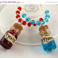 Health & Mana Potion inspired geeky wine glass charms set of 2 video game charms handmade wine charms party wine charms