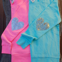 "10% off now thru 12/24/13 - The ""Dazzle Patch"" Tiffany Blue Sweatshirt w/Gold Heart Sequin Elbow Patch"