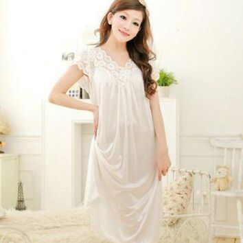 ESBONFI Summer Sexy Female Lounge Sleepwear Long Design Loose Female Ice Silk Lace Princess Palace White Nightgown